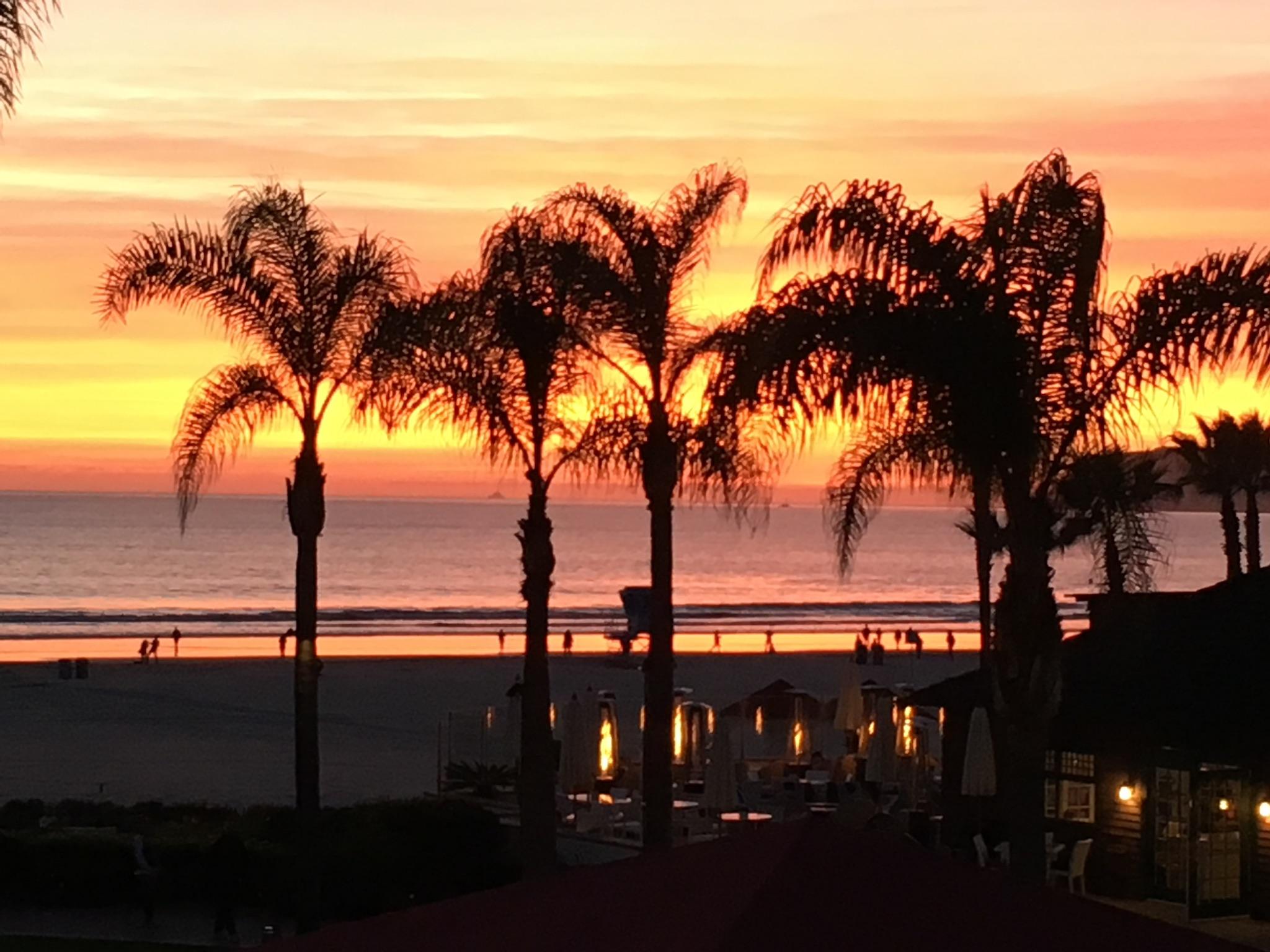 Sunset from the balcony at Hotel Del Coronado.