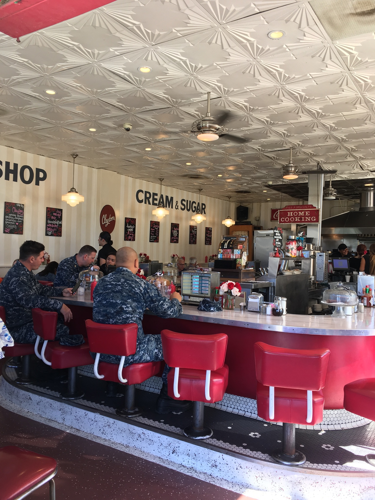 The counter at Clayton's diner.