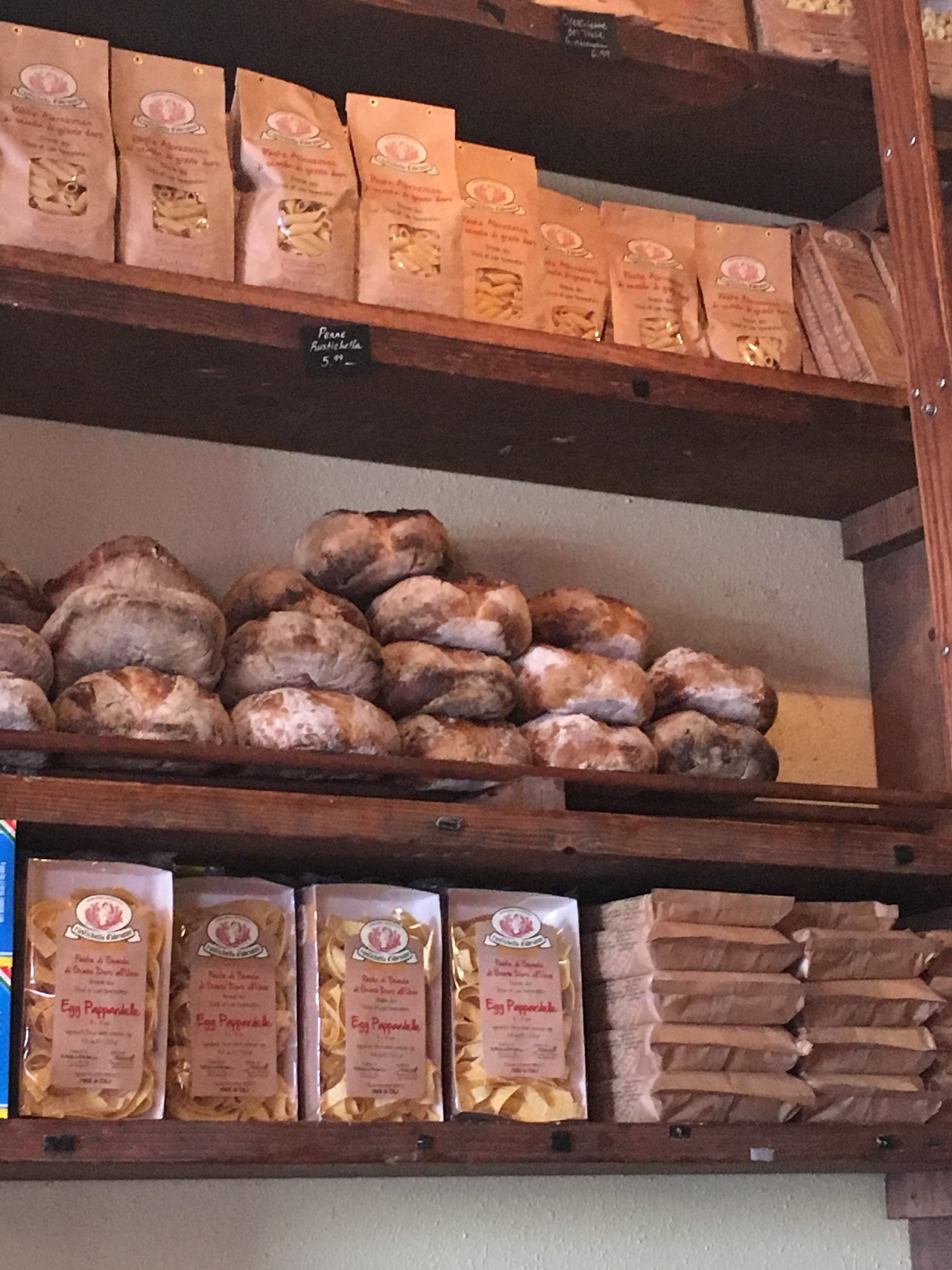 Fresh baked bread and dried pastas