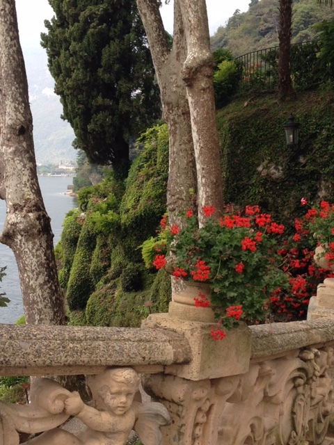 A view toward the lake from the path that winds up to the gardens and loggia.