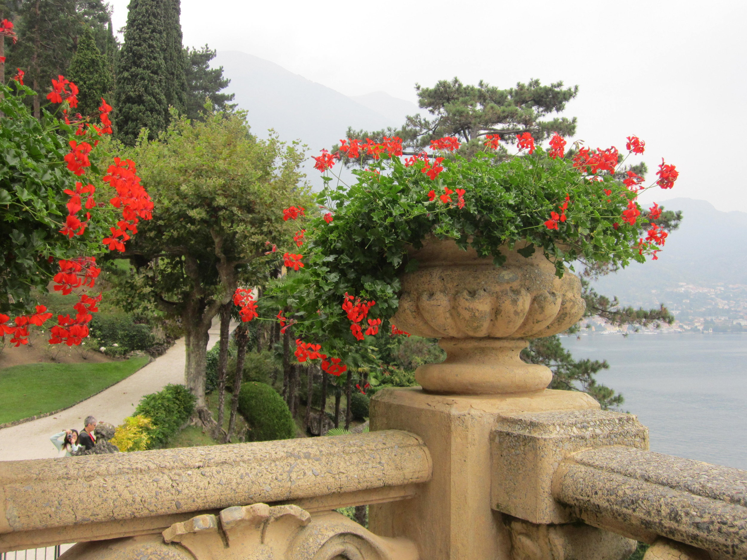 One of many beautiful flower-filled urns which line the garden paths.