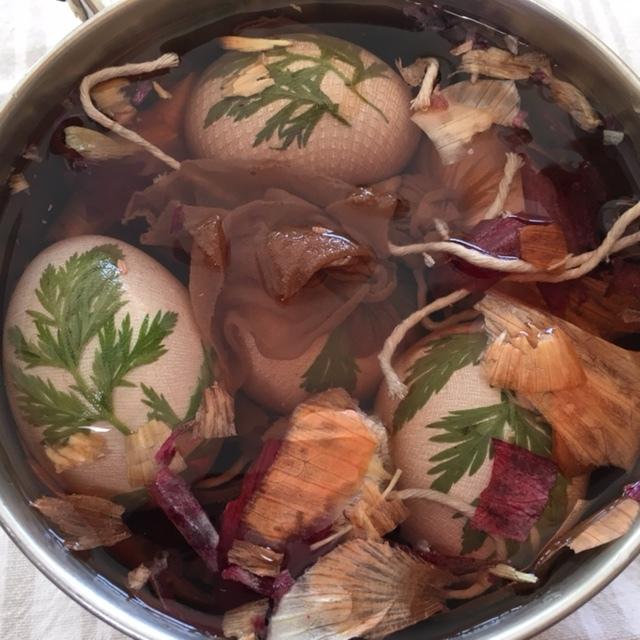 wrapped eggs in onion skin dye
