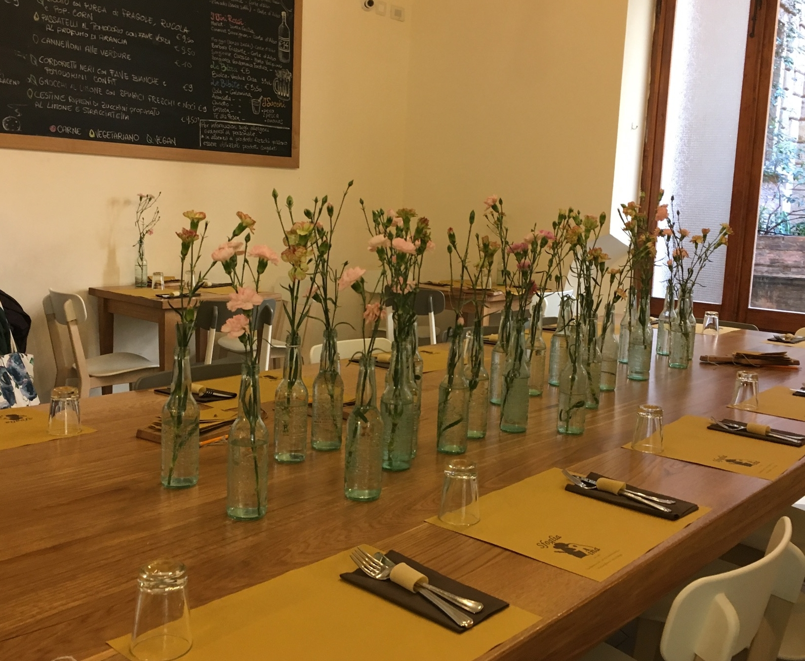 Communal dining table at Sfoglia Rina