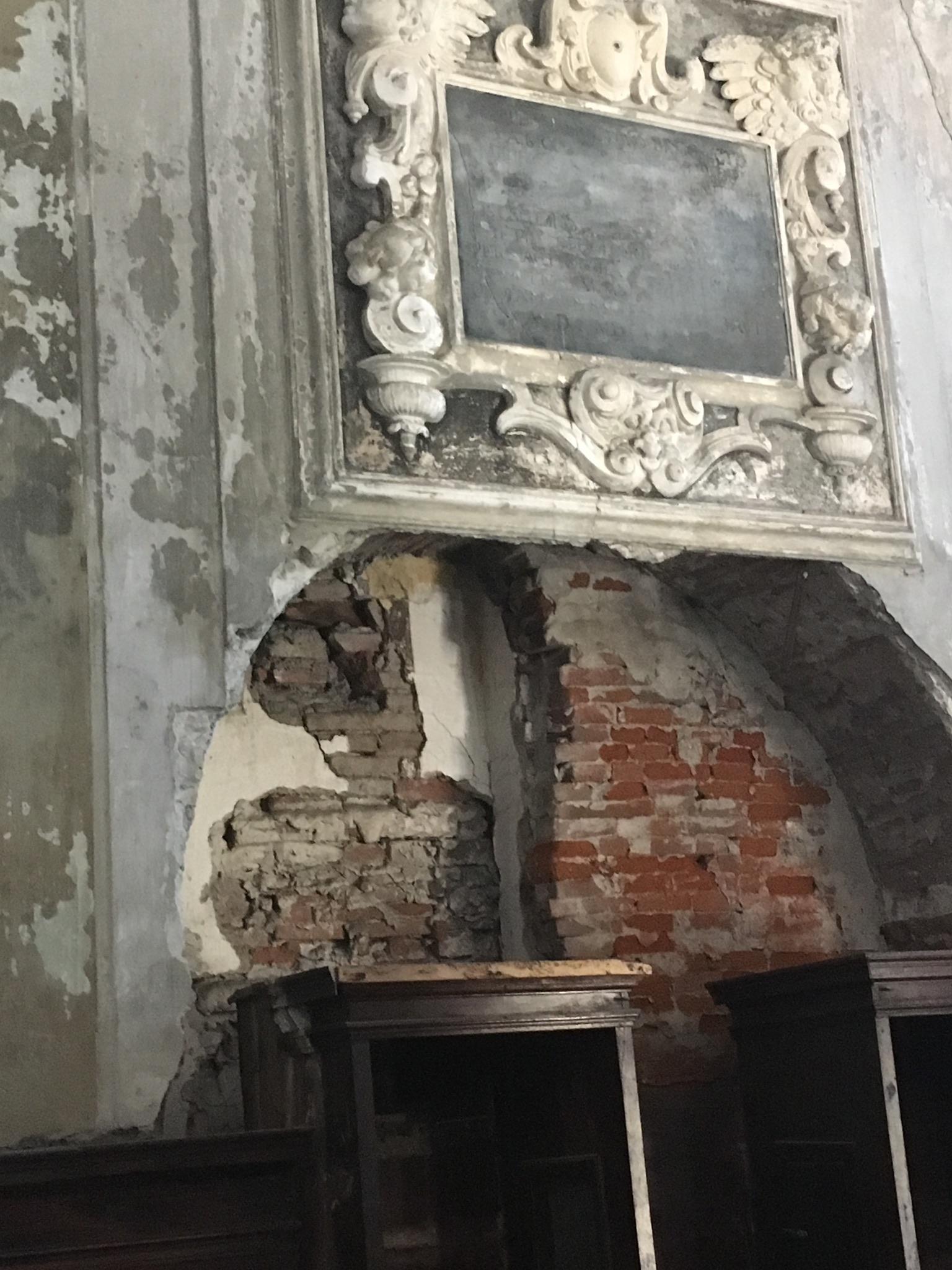 Interior of the abandoned Crocifisso dei Bianchi church.