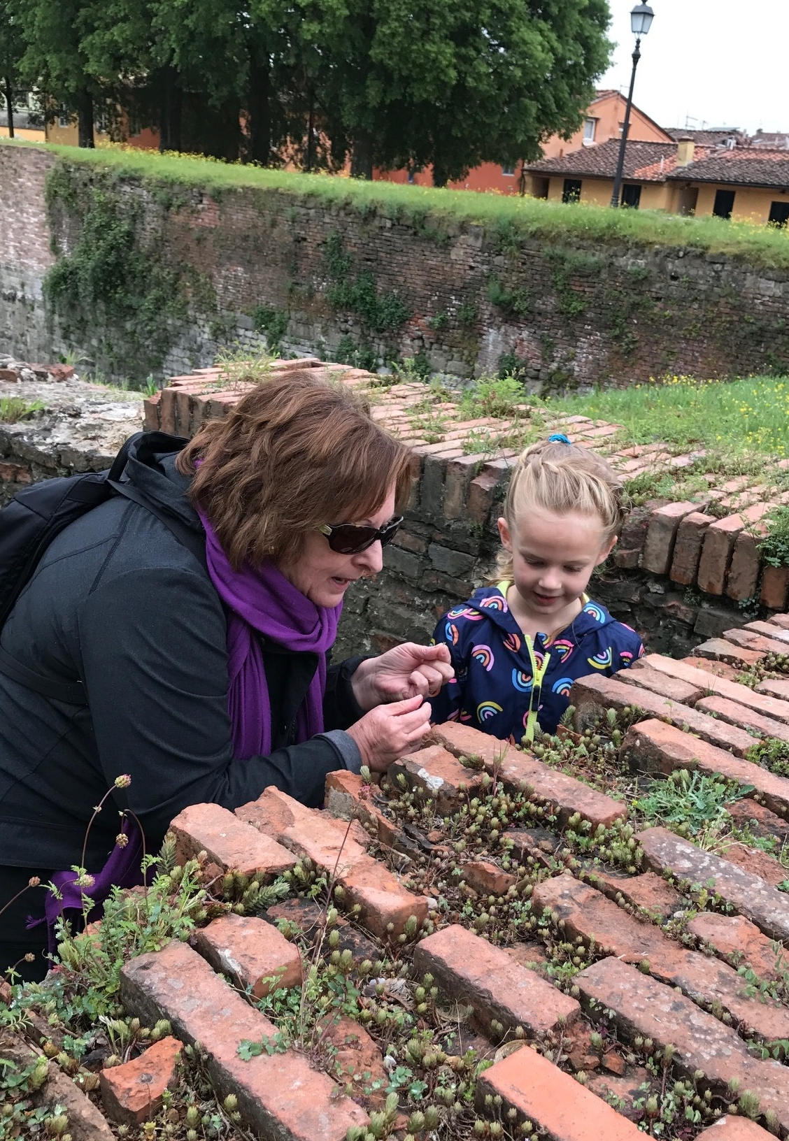 Edie and me, exploring plant life on the walls. Photo courtesy of H. Baker