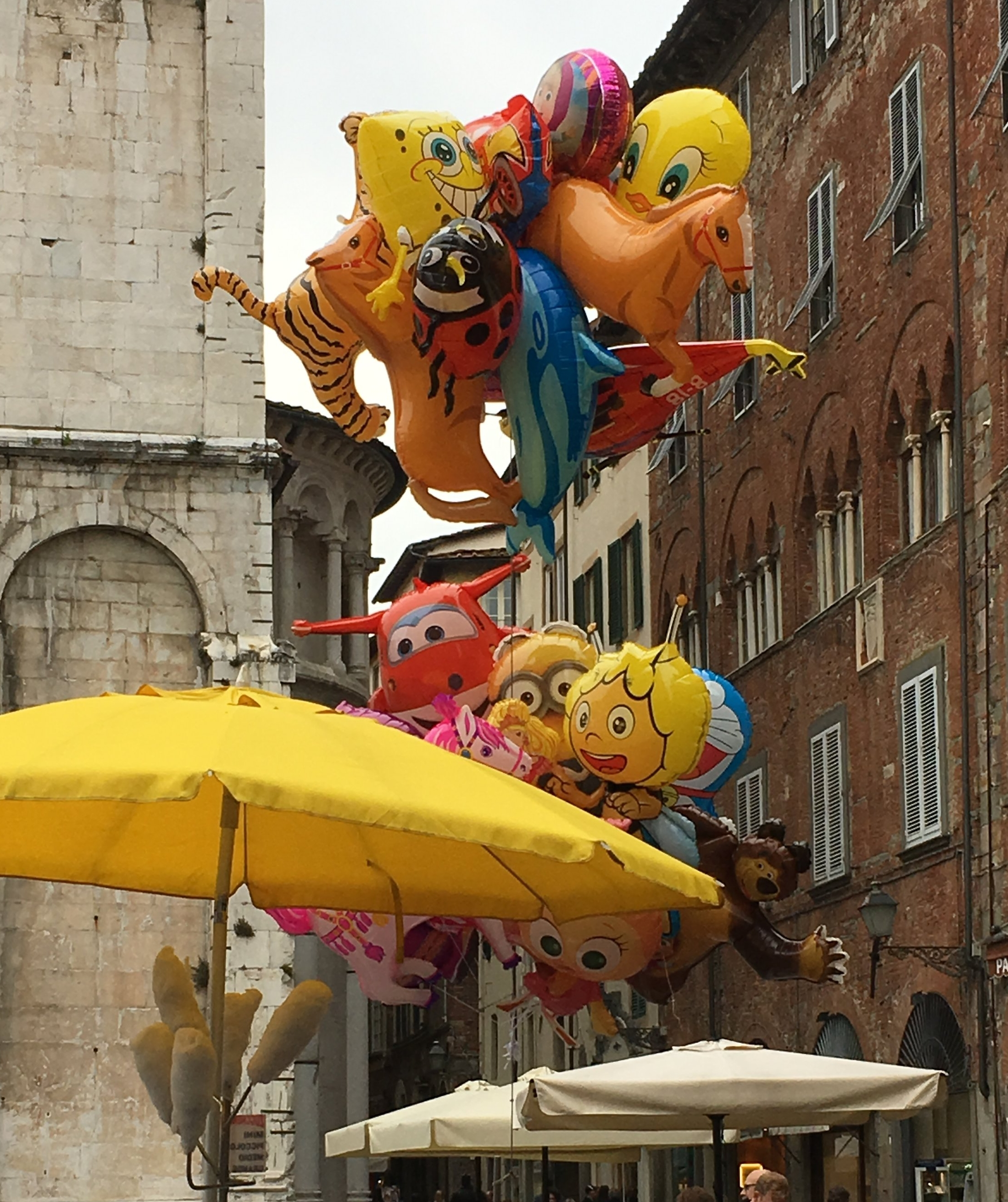 Colorful balloons for sale in Piazza San Michele.