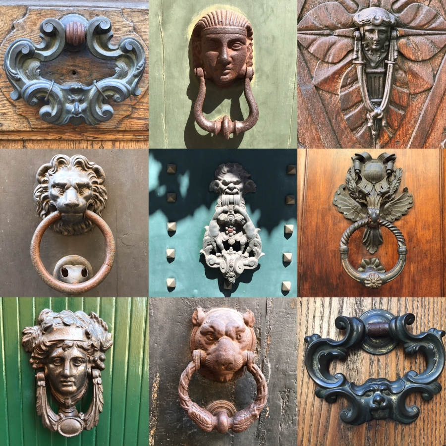 Some of Lucca's beautiful door knockers. Photos by E. Baker and H. Baker