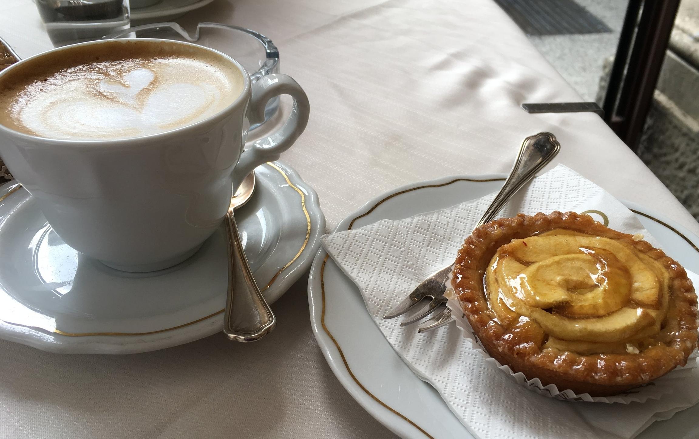 A morning cappuccino and a  torta di mele  (apple tart) at Pasticceria Gamberini.