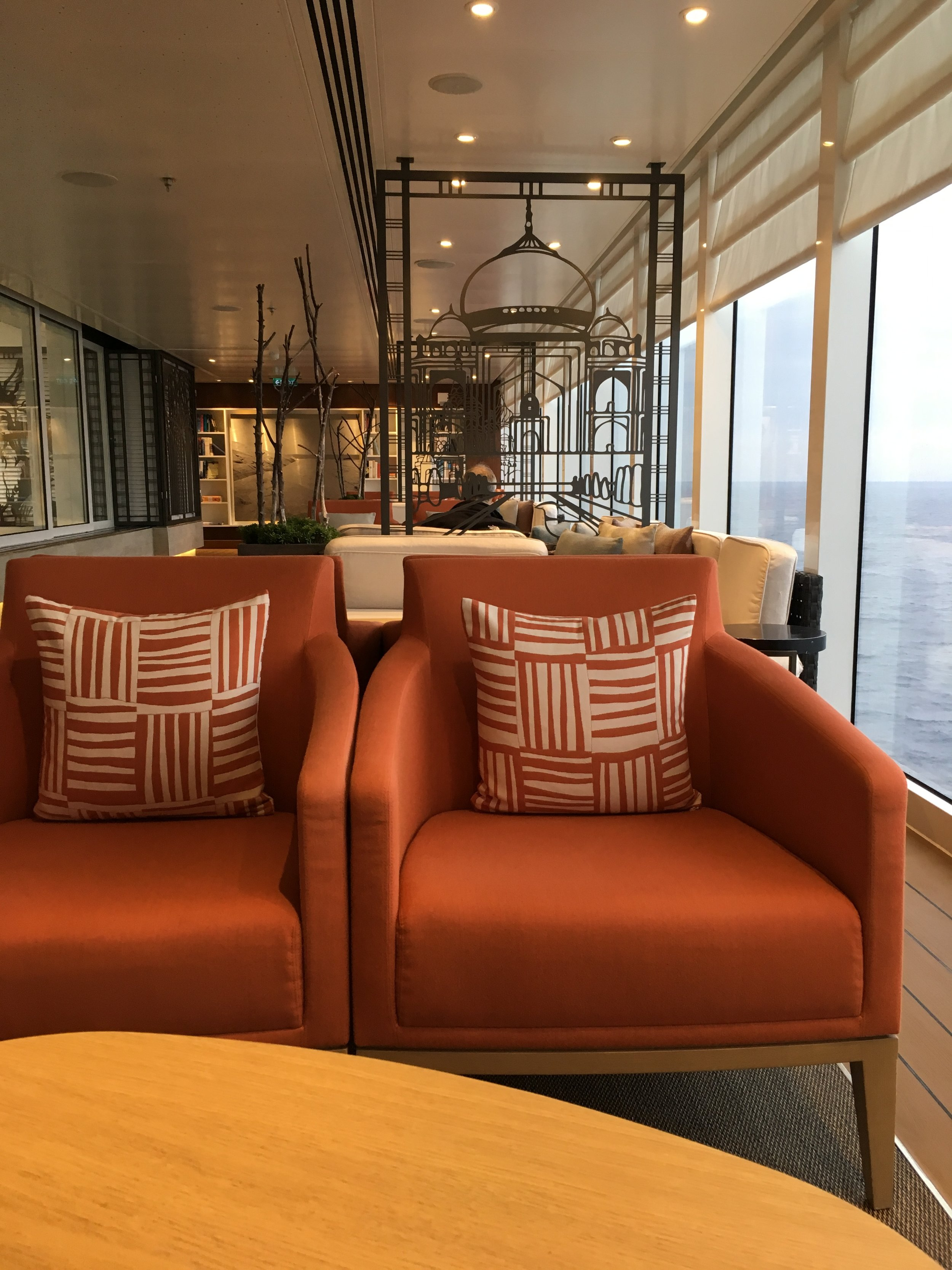 One of many comfortable and quiet public spaces on the Viking Star
