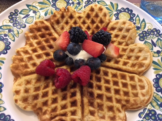 Norwegian-style waffles for breakfast at the World Cafe (also in Mamsen's)
