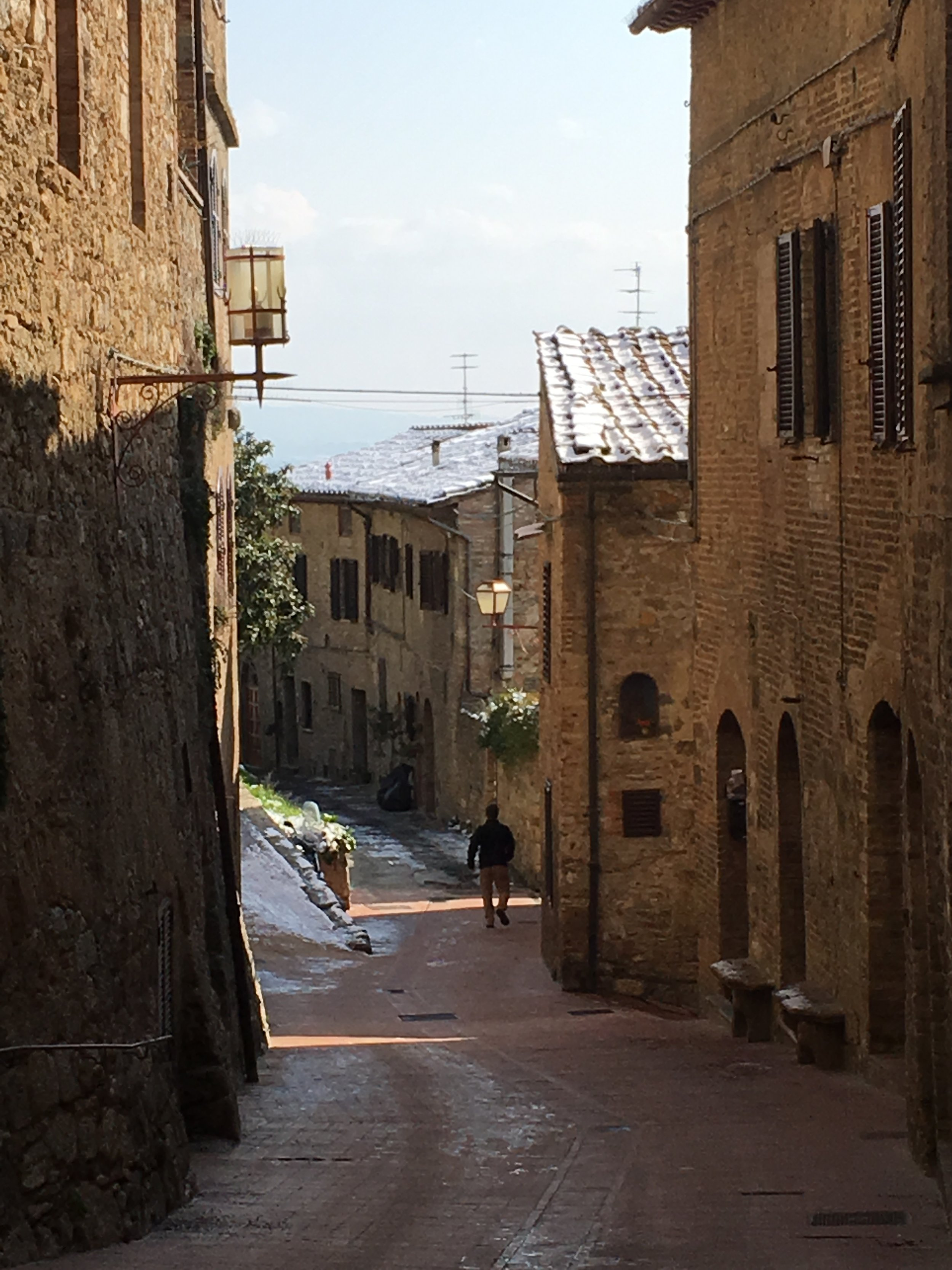 Snowy streets and rooftops in San Gimignano, February 2018