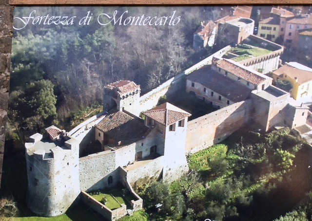 The fortezza with original construction on the left and more recent addition to the right of the two central towers (note the change in materials from stone to brick).