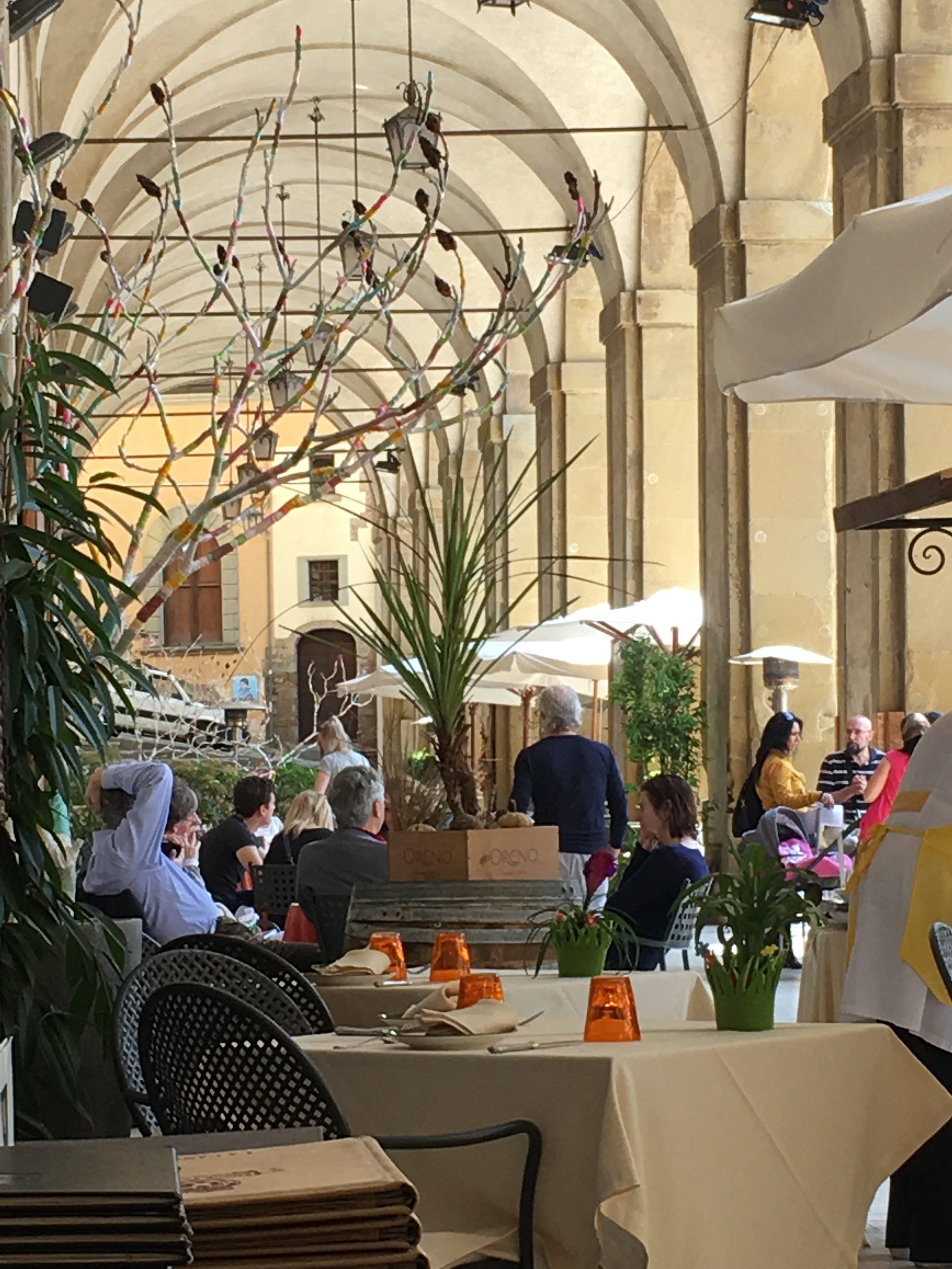 The restaurant Logge Vasari, Arezzo