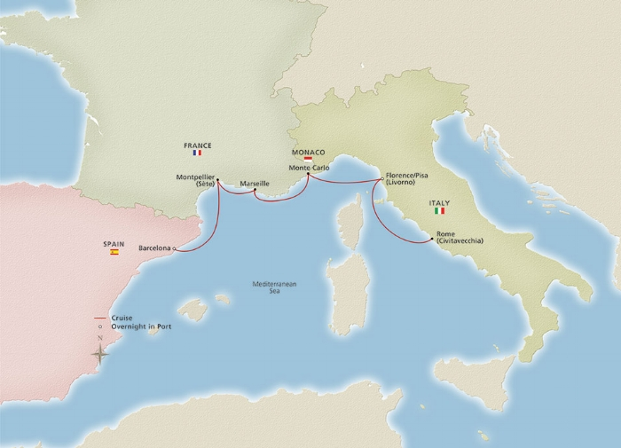 Viking Iconic Western Mediterranean Ports of Call (note: some cruises stop in St. Tropez rather than Montpellier)