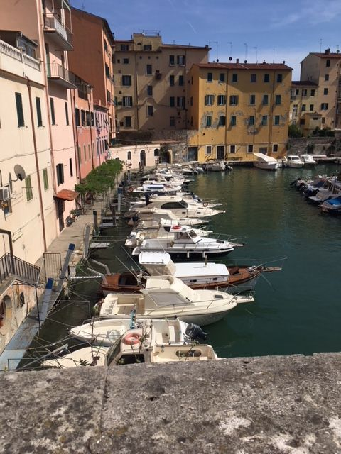 """Along a canal in the """"Little Venice"""" area of Livorno"""