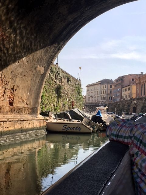 An arched bridge over the canal