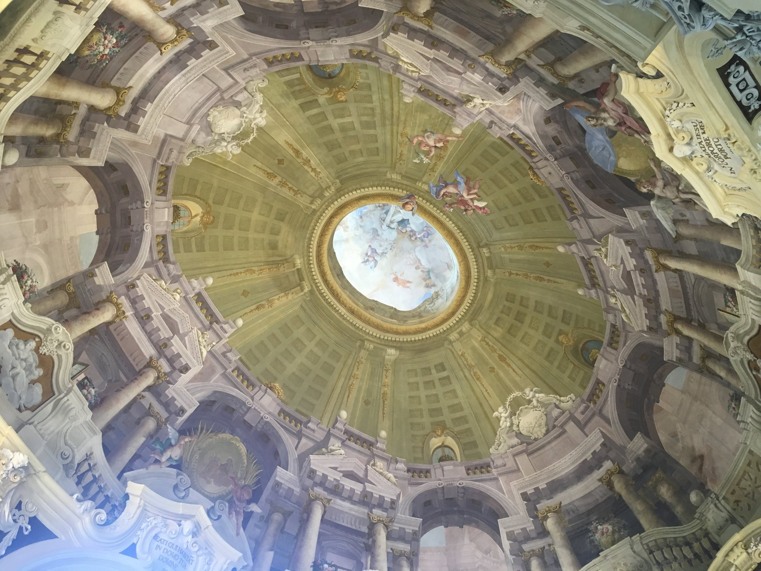 The painted dome, seen from the chapel below