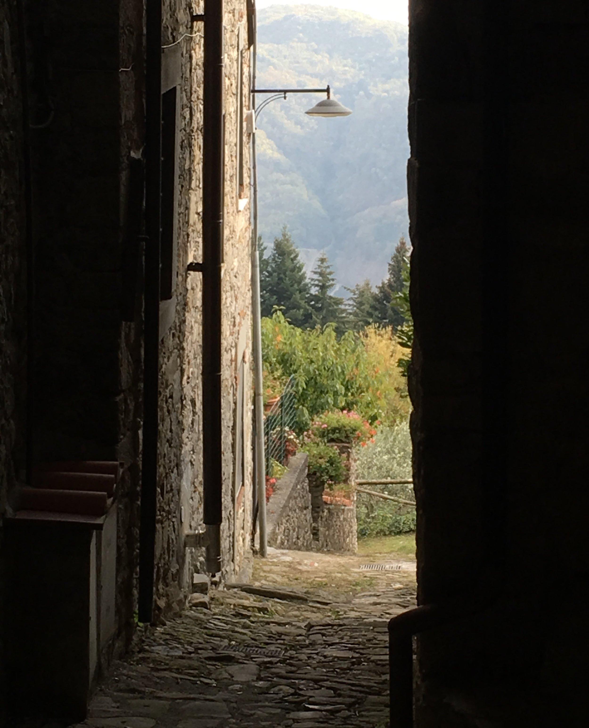 A vicolo (small lane) in Colognora di Pescaglia ends with a stunning view.