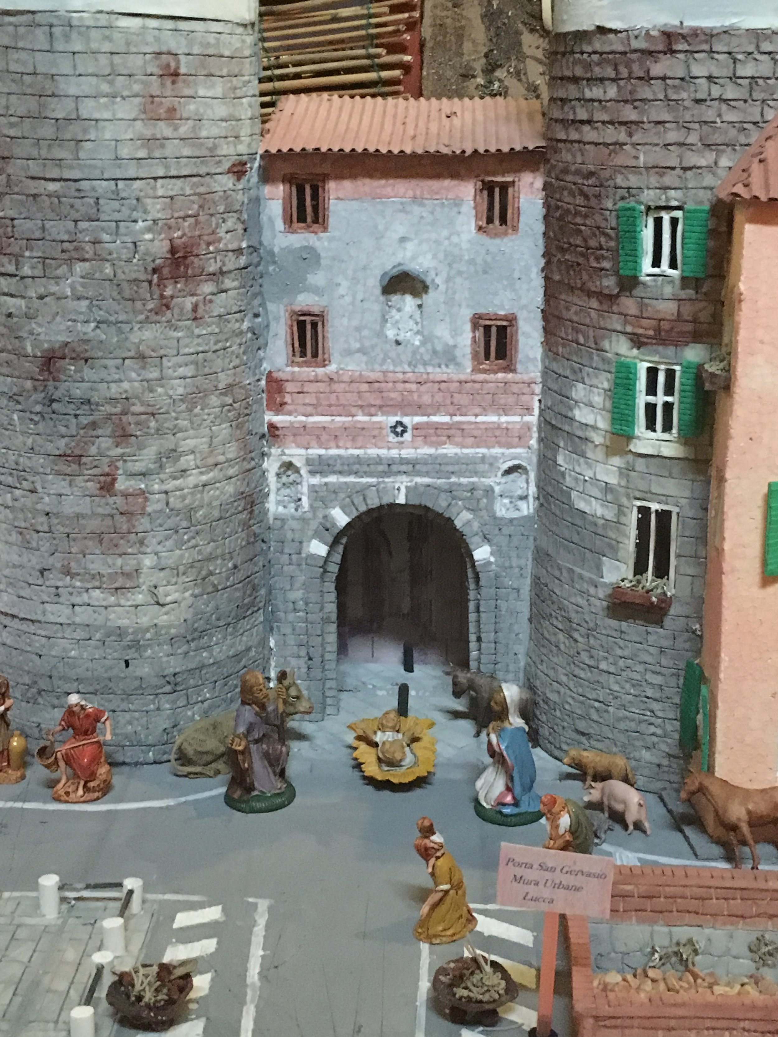 This presepe places the Nativity at one of Lucca's medieval gates.