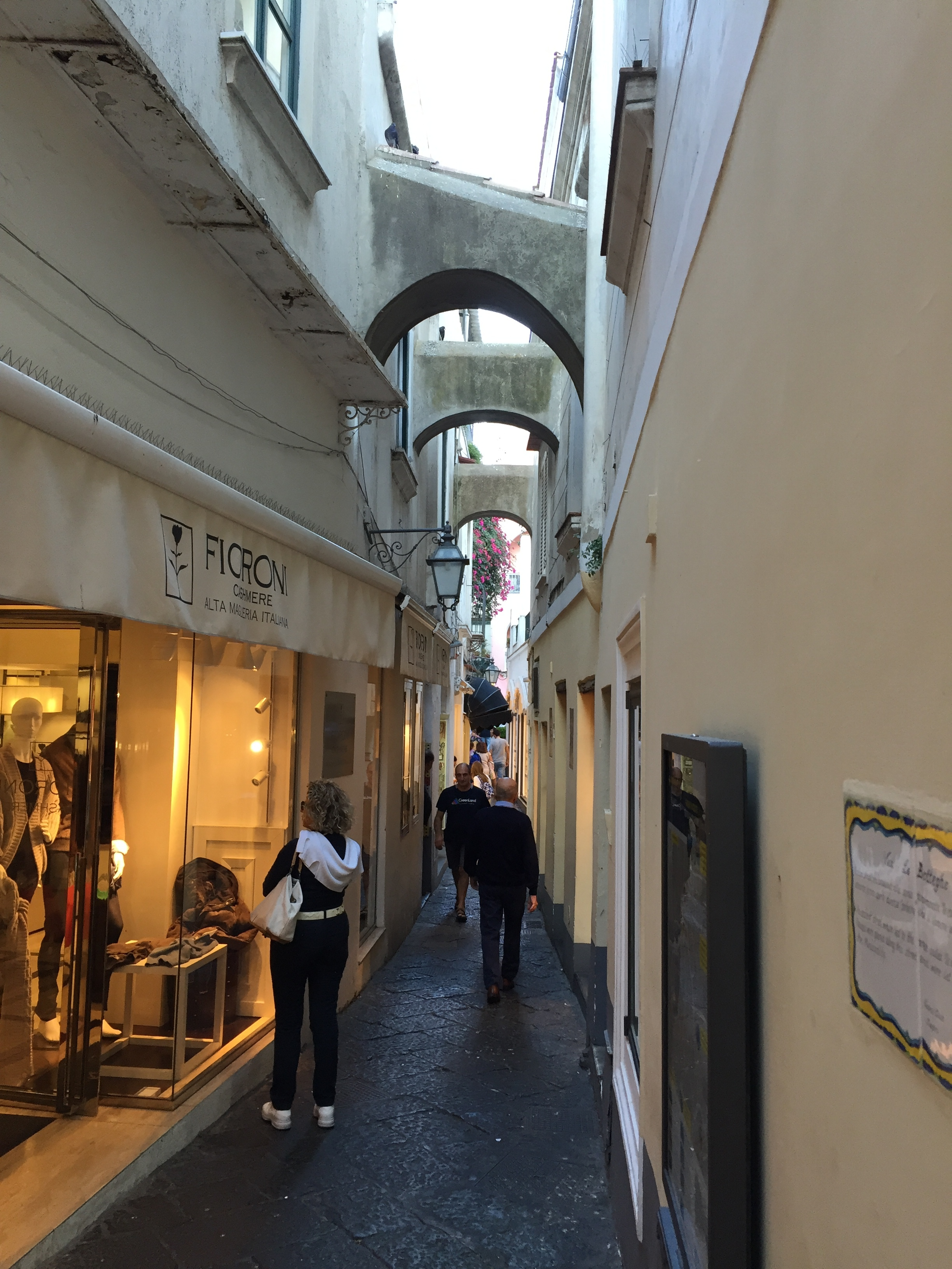 A narrow Capri street lined with shops