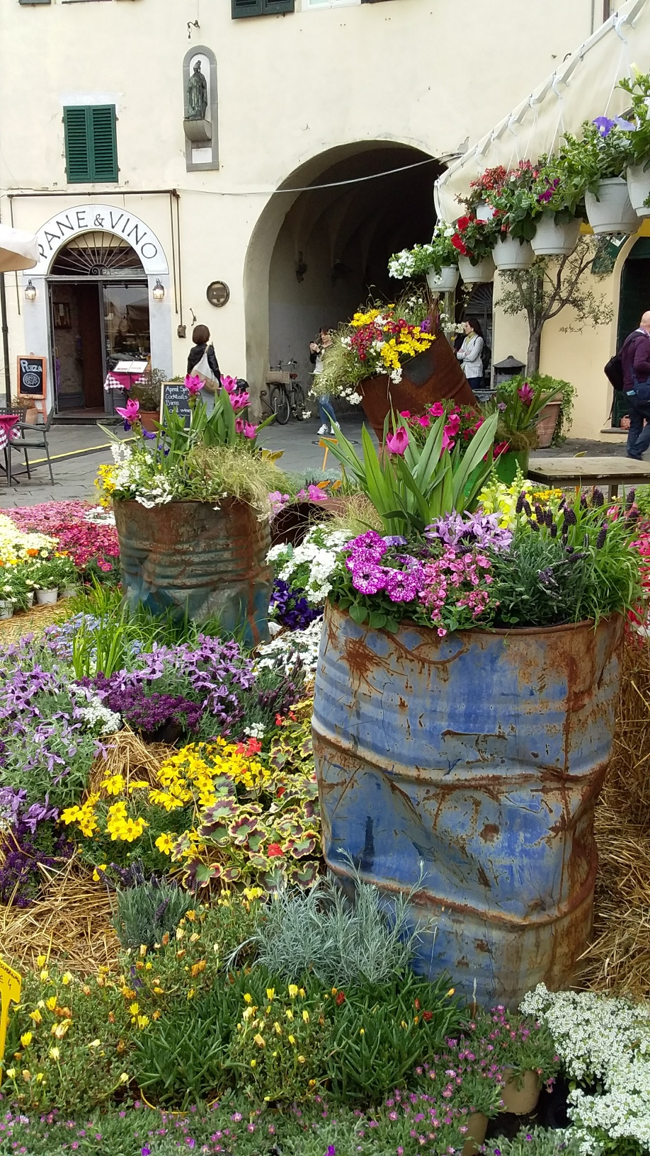 Santa Zita is remembered each year with a flower market in late April. This display was part of the 2019 market.