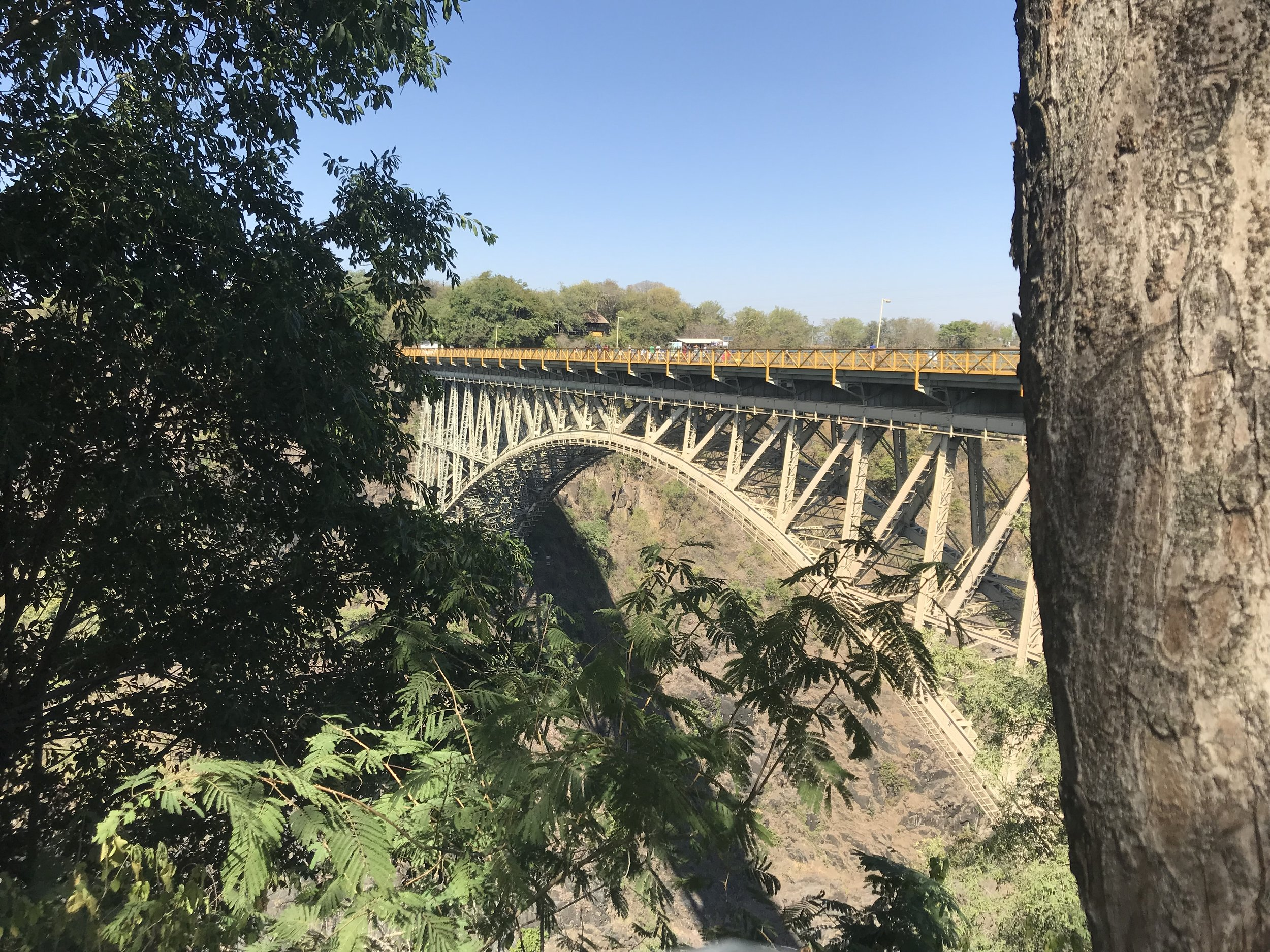 Victoria Falls Bridge links Zimbabwe and Zambia.