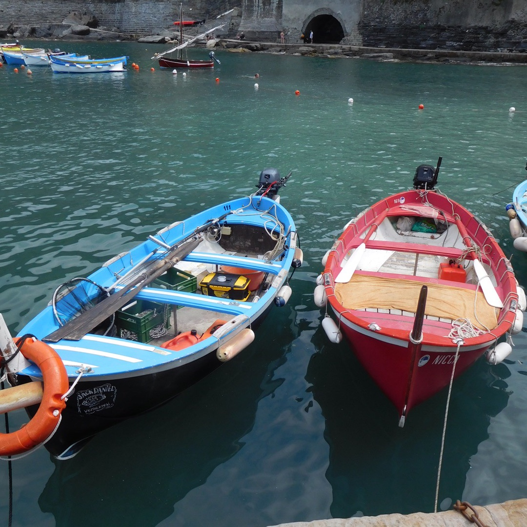 Fishing boats in the tiny harbor at Vernazza