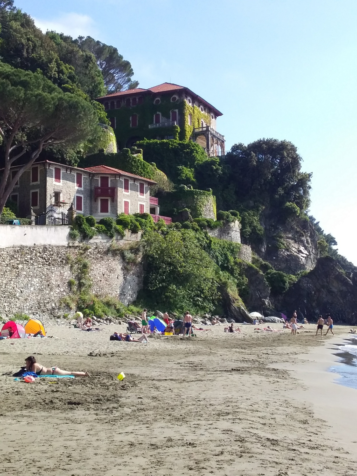 The public beach at Levanto - soft sand, calm waters, and stunning views in every direction