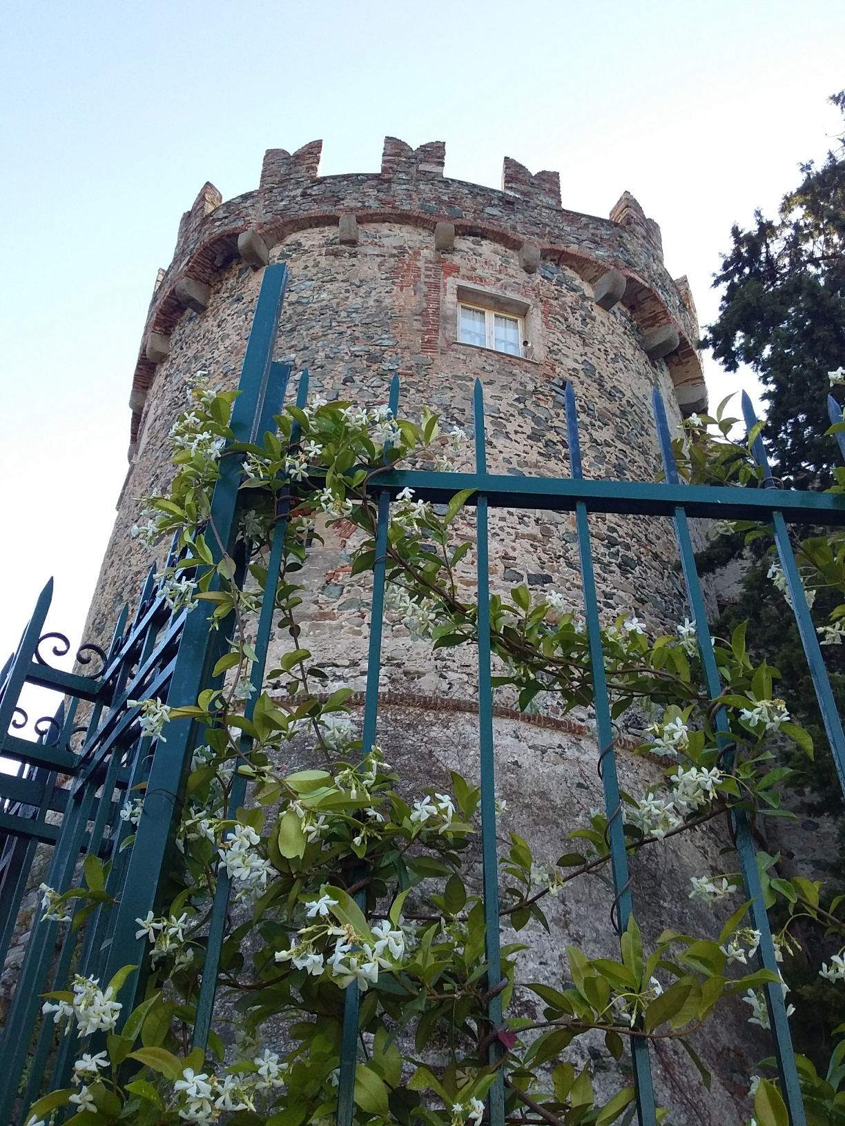 The castle (privately owned, closed to visitors) is just a short hike up from town.