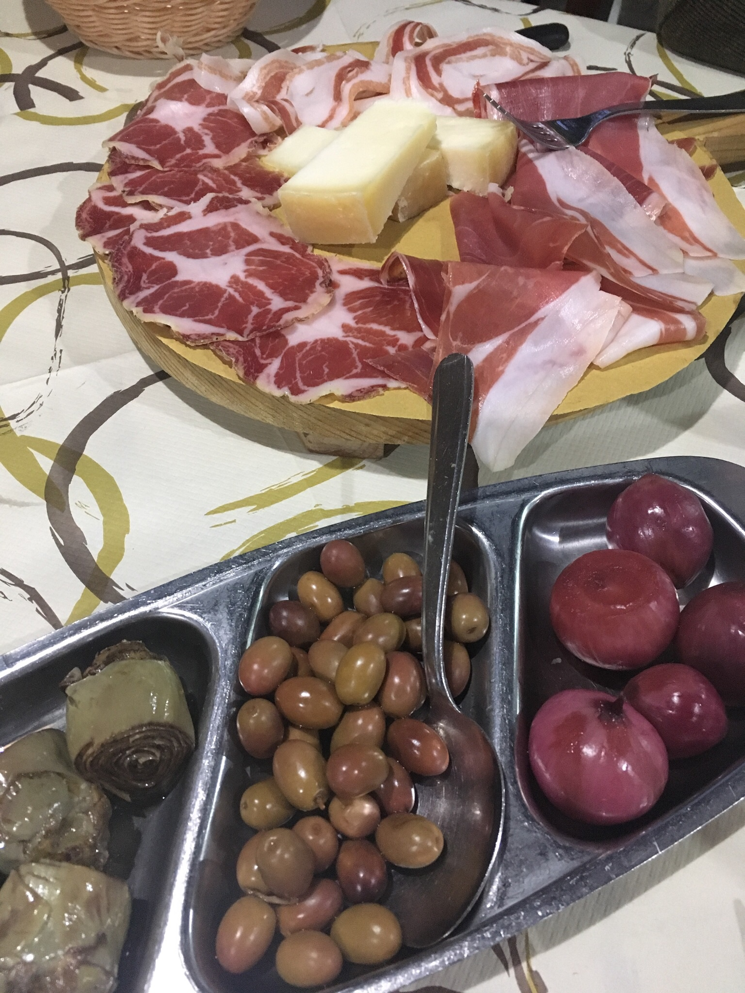 A perfect summer meal - salumi (cold cuts), cheese, and marinated veggies