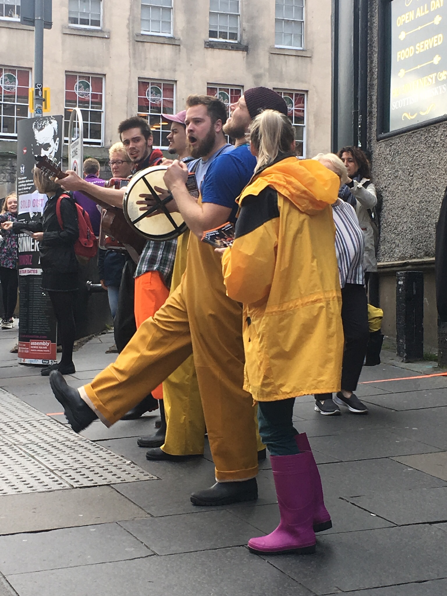 Street performers at the Fringe Festival - this group was singing seafaring songs.