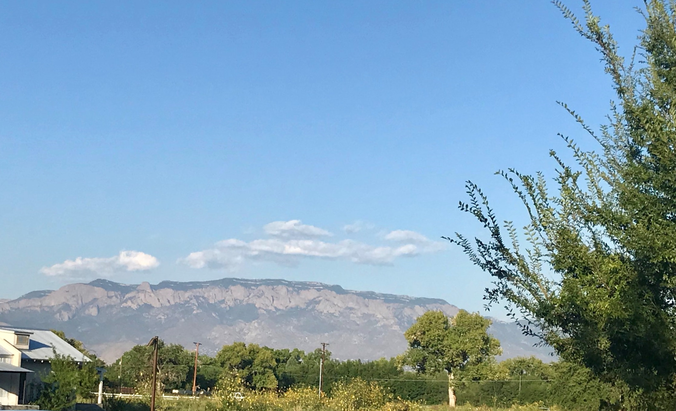 The Sandia Mountain on the east side of Albuquerque, as seen from Los Poblanos