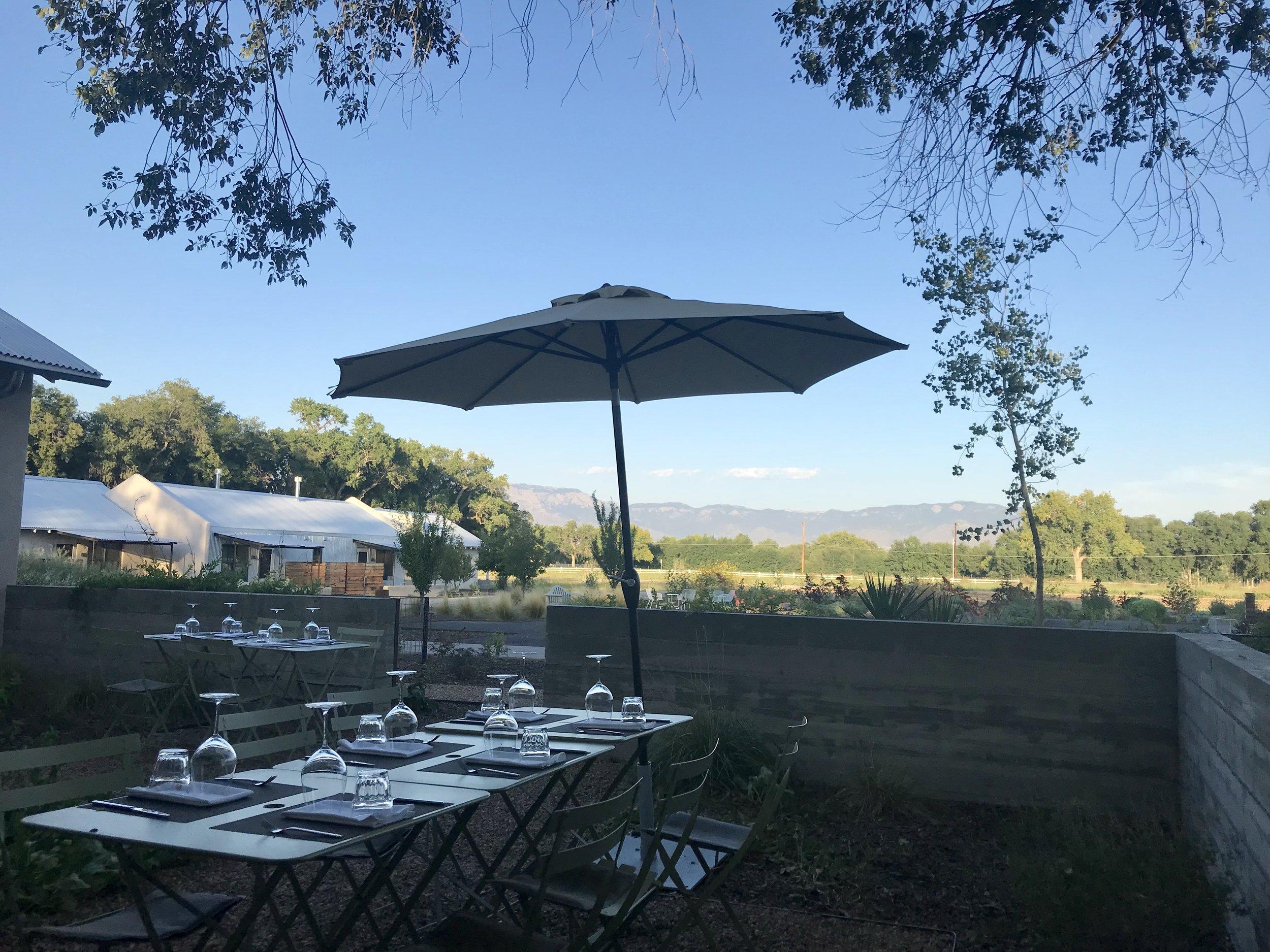 The patio at Los Poblanos' restaurant