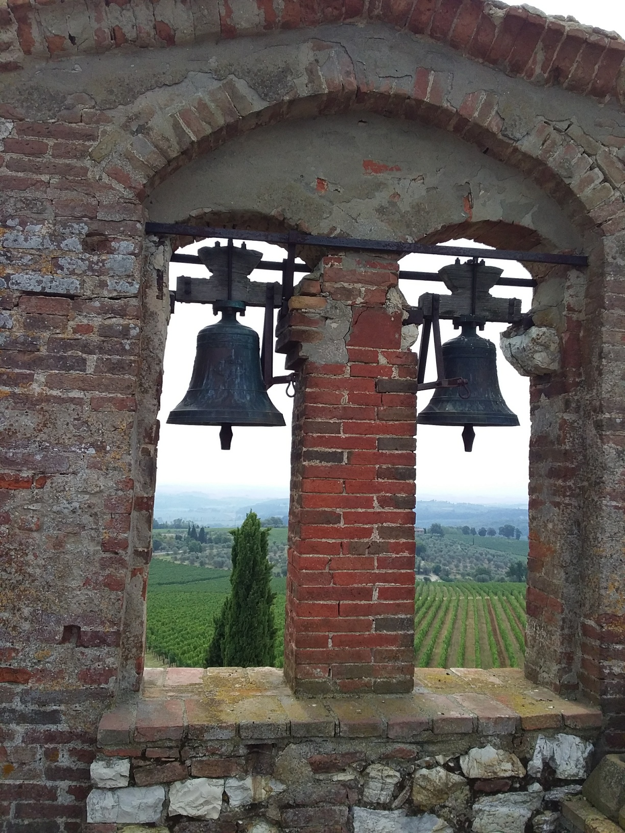 The vineyards of the Chianti Classico Region, as seen from the bell tower at Canonica a Cerreto Winery