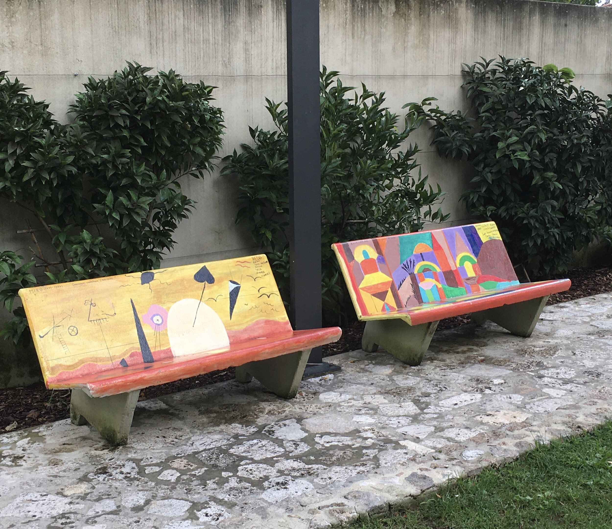 Benches in a small Camaiore park