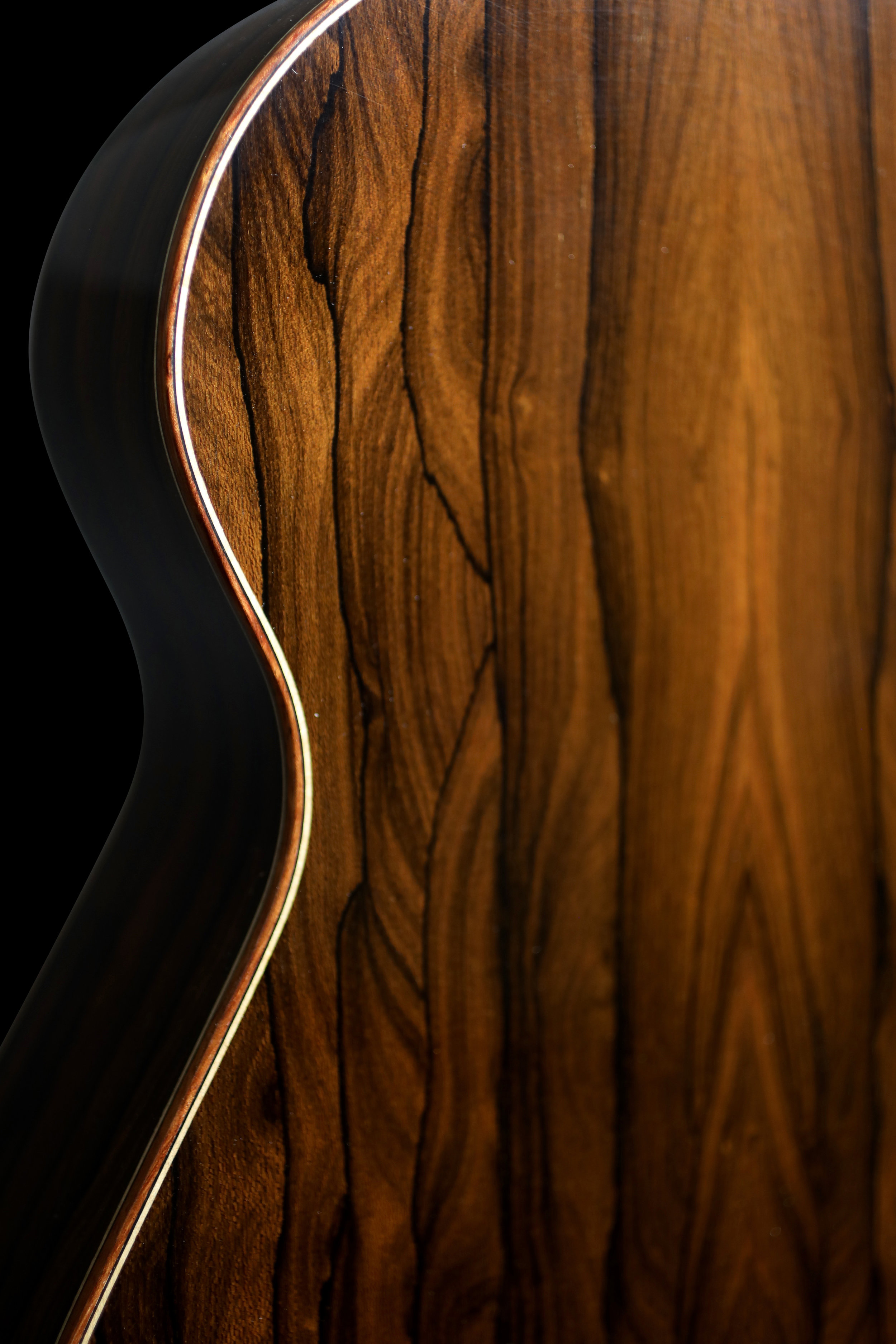 Ziricote Back and Sides with Bubinga Binding and Curly Maple Purfling