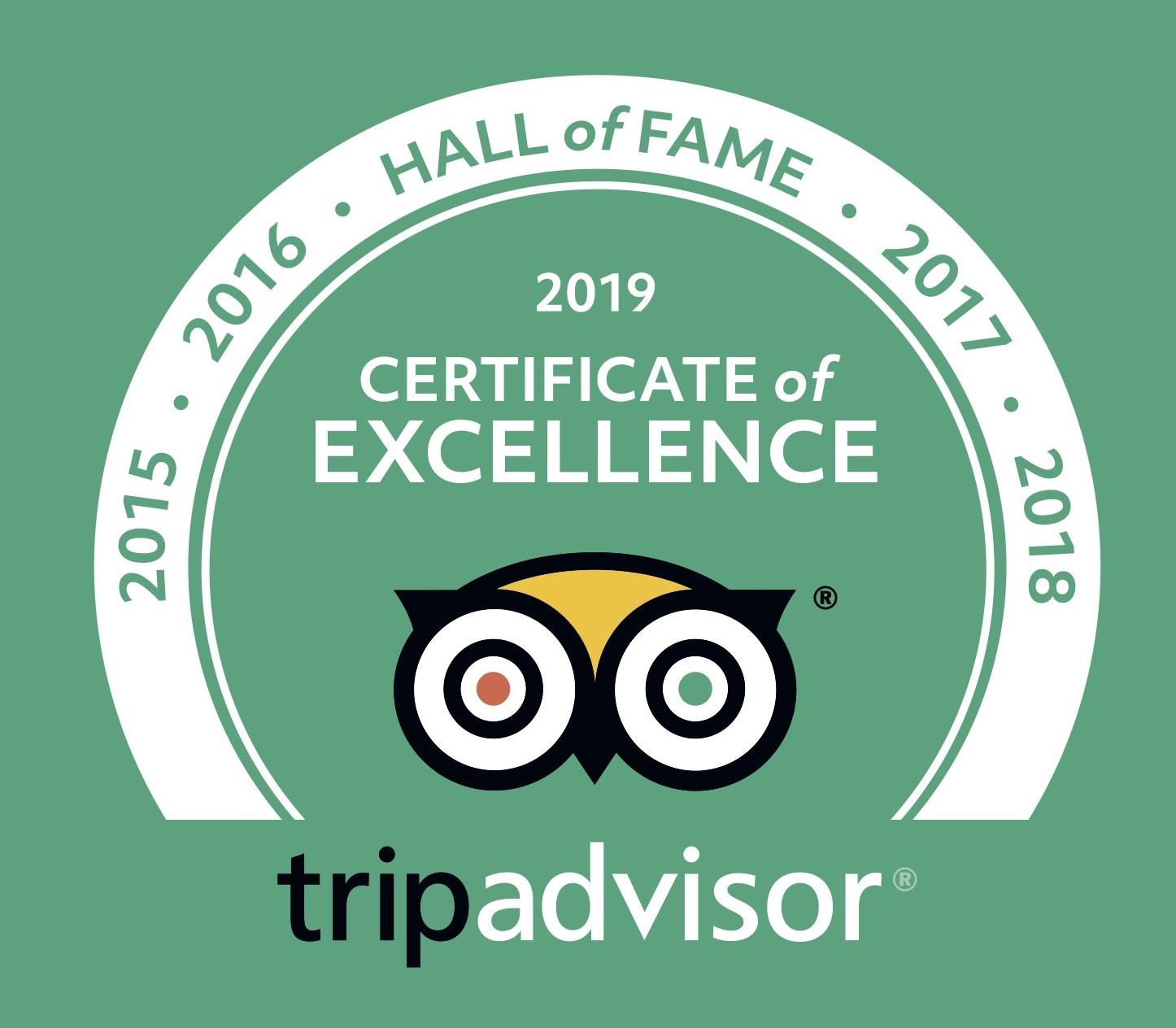 Trip Advisor Excellence Hall of Fame