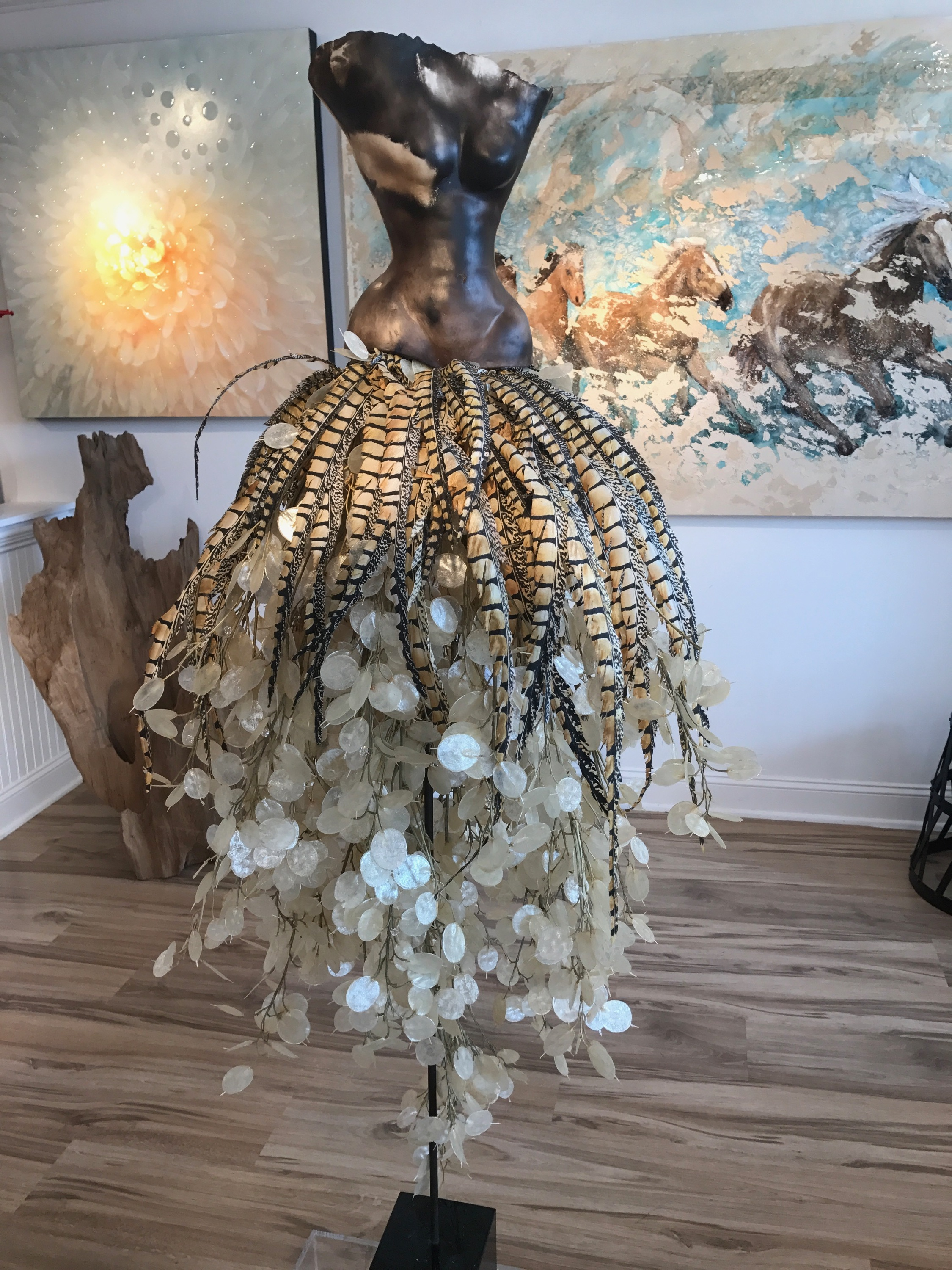 "Sawdust with Silver Dollar + Feathers (58"" Tall)"