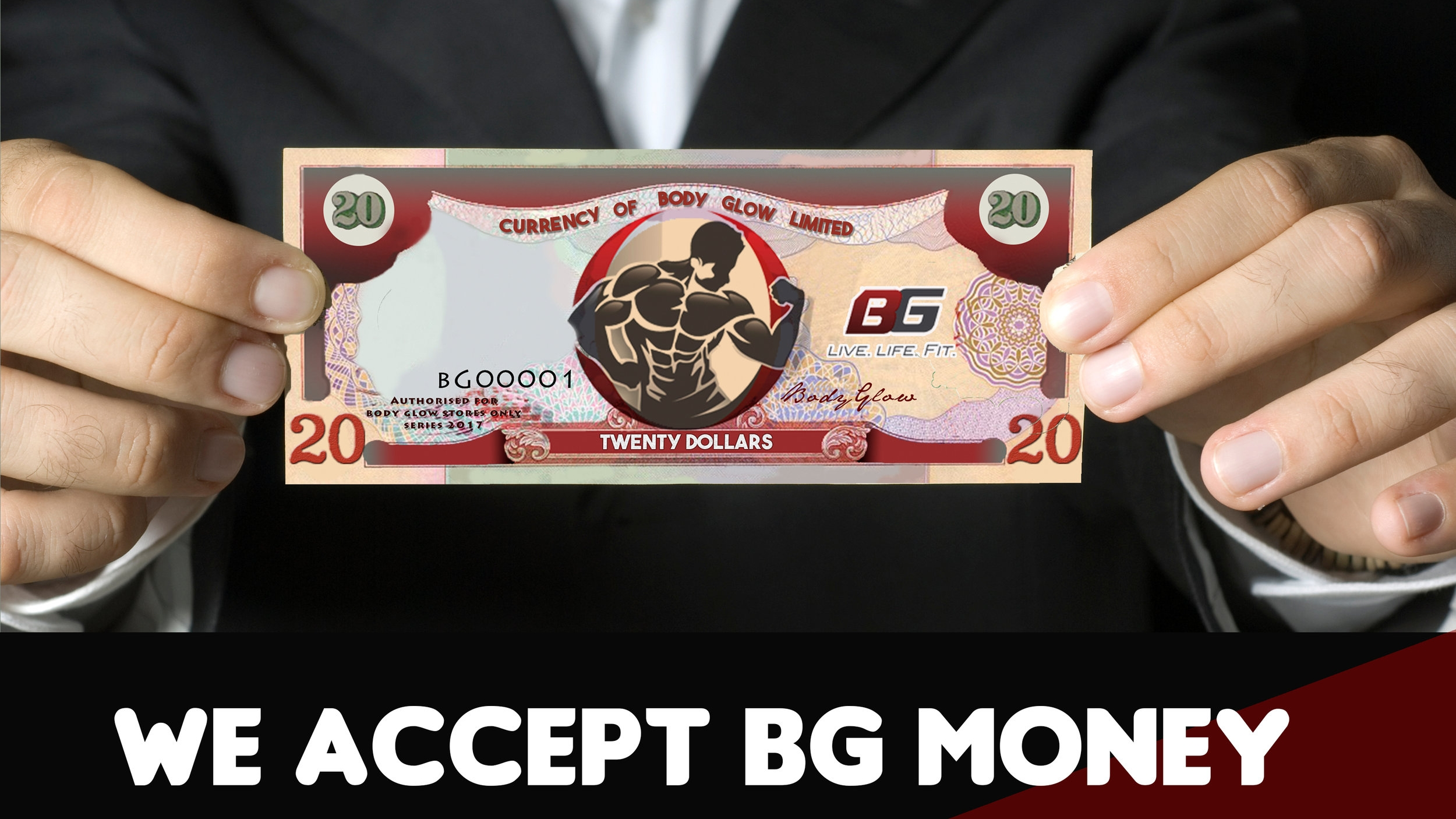 Feel free to redeem your BG Money at any BODYGLOW location nationwide when you receive it from our authorized affiliates. You are entitled to use your $20 BG bill on any purchased item over $250 ttd. -