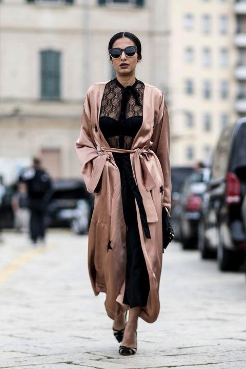 Rose gold star-printed coat at Milan Fashion Week.  Source