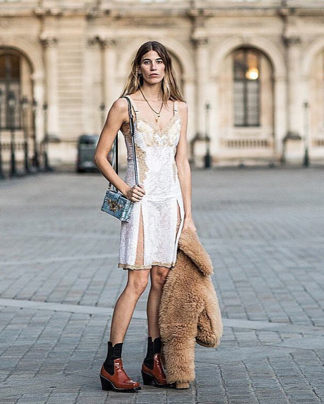 View photo source.     Make your slip dress cold weather appropriate by throwing on a thick teddy coat and tough booties!