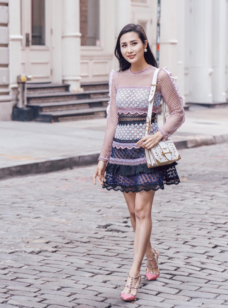 View photo source.     How pretty is this luscious layered dress?! We love the mix of lace, crochet and sweet ruffles. Chic rockstud heels take this look to the next level.