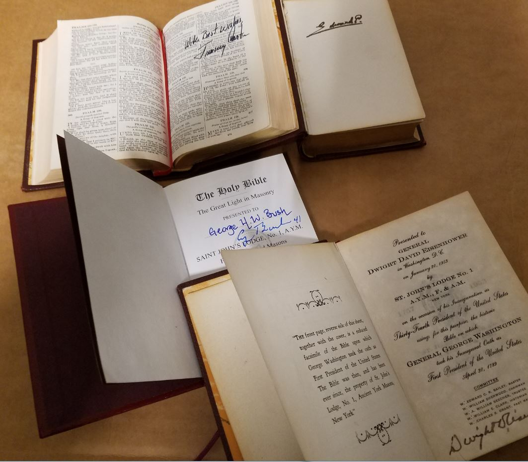 Replica Bibles signed by King Edward VIII and President's Jimmy Carter, George H.W. Bush, and Dwight Eisenhower.