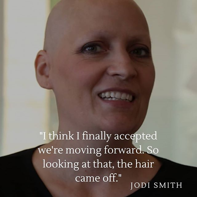 Jodi Smith was diagnosed with Ovarian Cancer at age 42.   She has been through chemotherapy and hair-loss. Though hard, she understands that acceptance is key for keeping a healthy state of mind throughout the process.   She is an inspiration of courage and strength.   You are not alone!  Read her full story on our website.   #ThePatientStory #Strength #Courage #WomanPower #Cancermom #Cancer #Ovariancancer #Hope #Love #Mother #Hairloss #Family #Fortitude