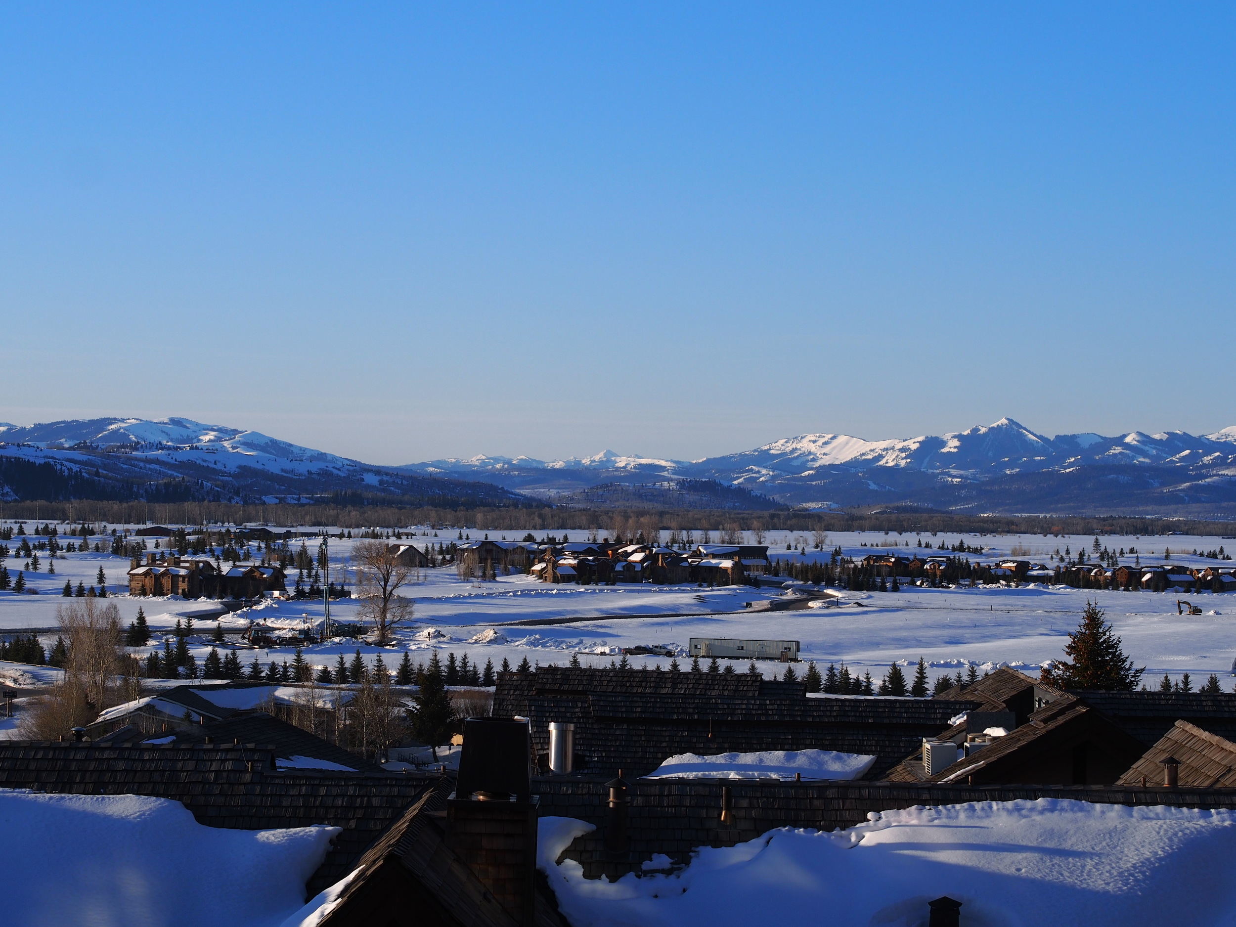 Early morning view of Teton Village from the Four Seasons Resort Jackson Hole