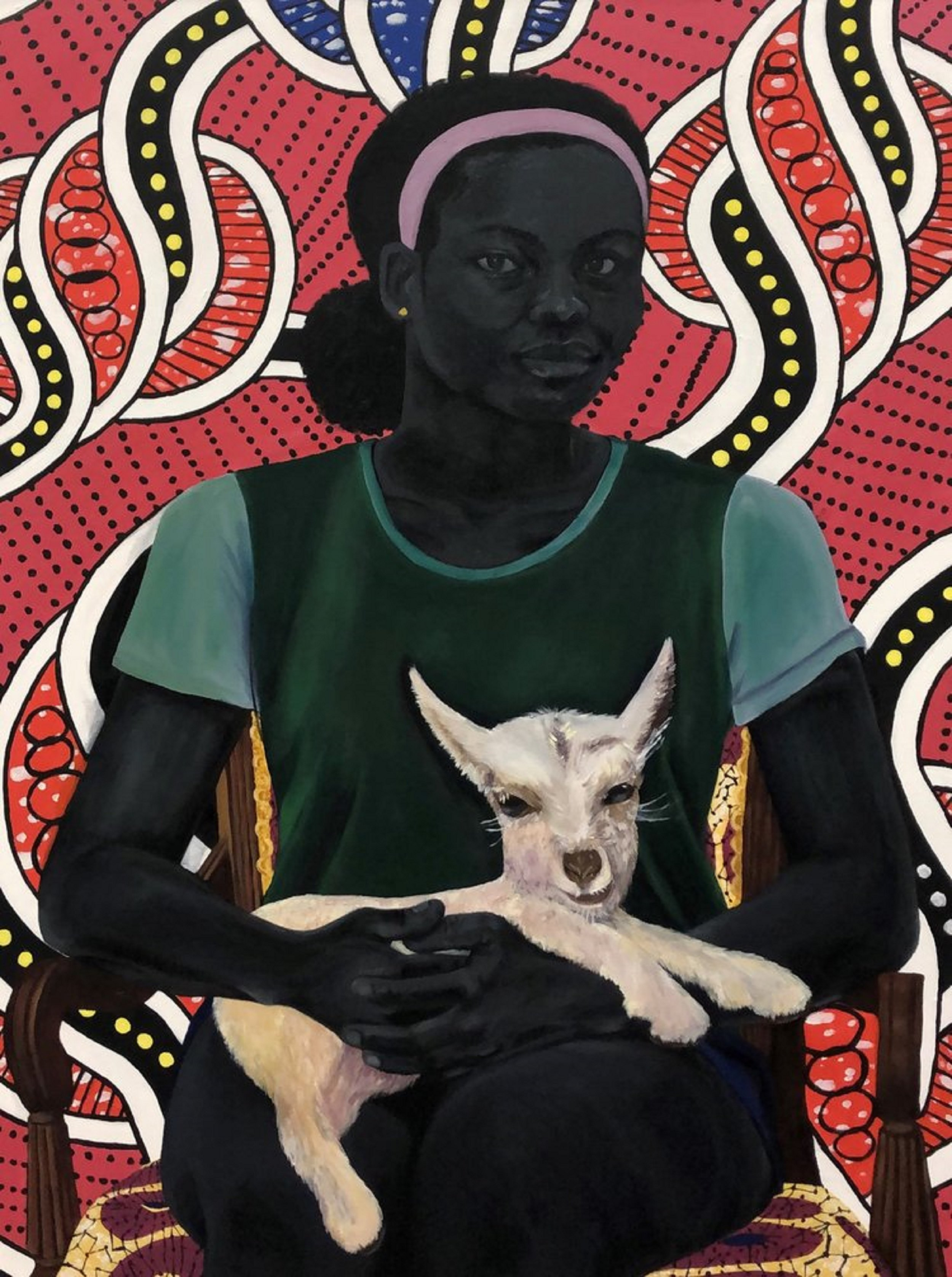 Woman Holding a Goat, 2018  oil and acrylic on canvas  36 x 48 inches