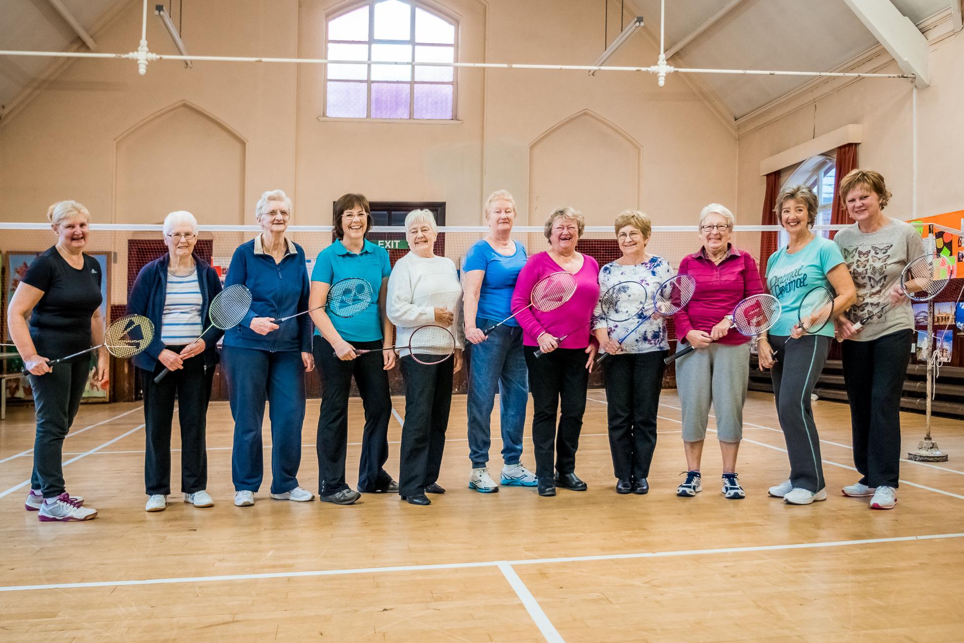 Members of the weekly Ladies Badminton Class