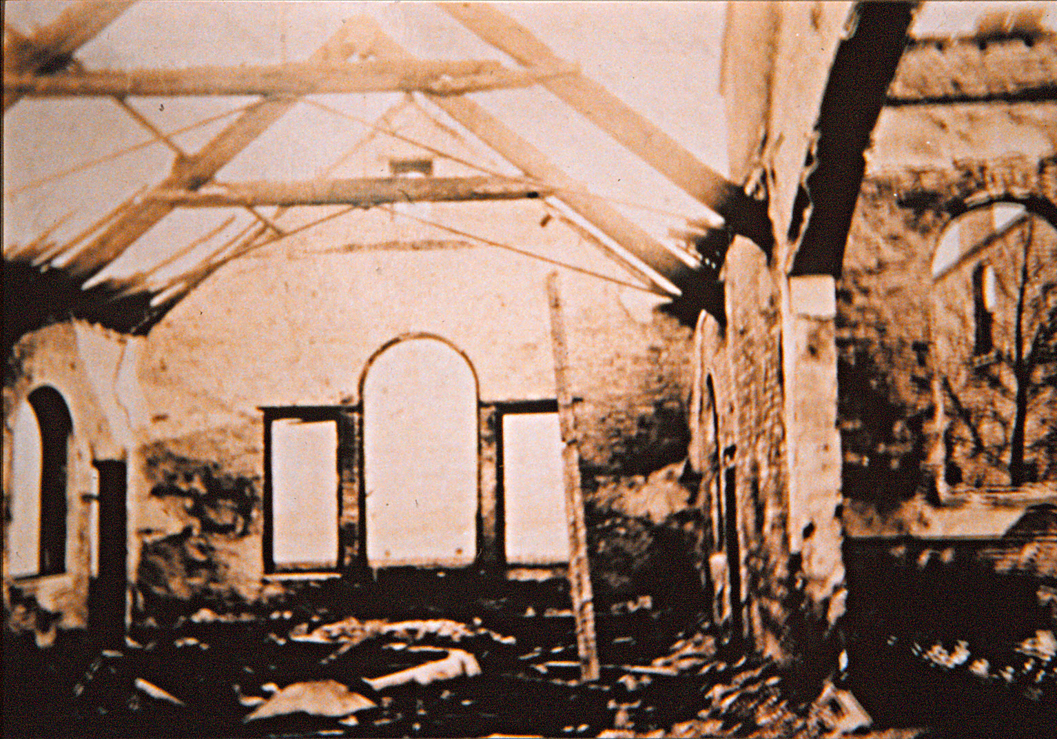 Burnt out interior of 1866 Church