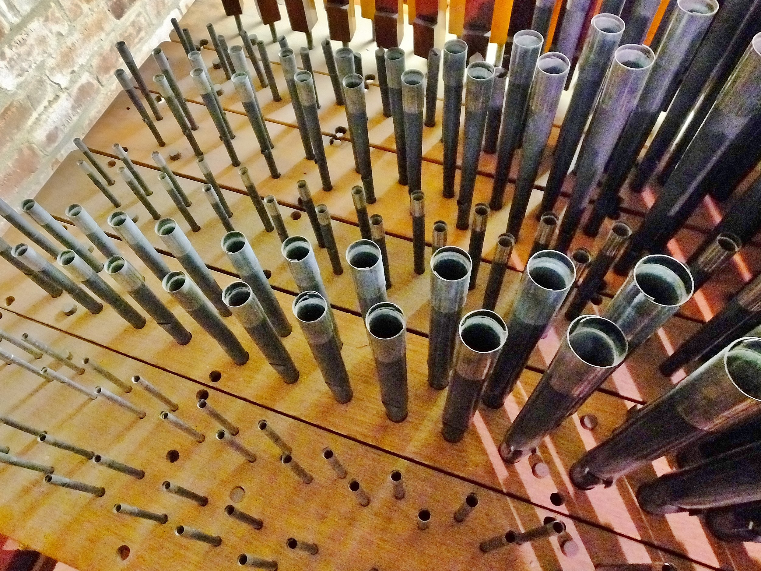 "Here is a selection of metal pipes - the open part of the Organ - known at the ""Great"" Organ"