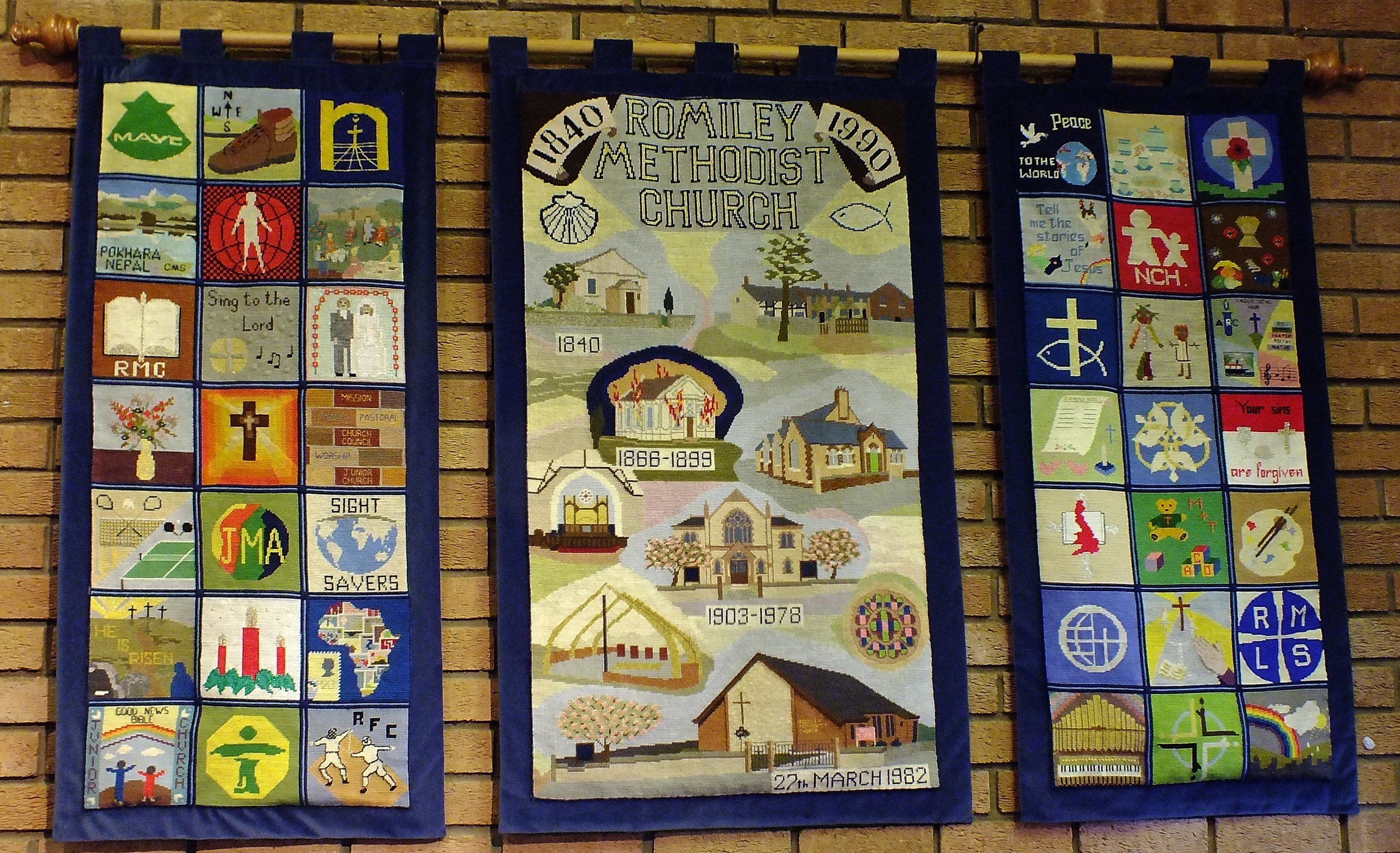 This cross stitch display was done by a team of members and shows the church history and also many of the Church activities